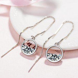 NEW Sterling Silver Diamond Water Drop Earrings